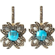 Vintage Antique 2.45cts Pave Rose Cut Diamond Turquoise Jewelry Silver Earring