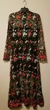 Anthropologie Vone Embroidered Lace Floral Dress Red Multi Sz 2