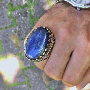 Lapis Lazuli Mens Ring 925 Sterling Silver Large Solid Extraordinary Jewelry
