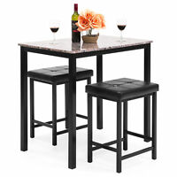 BCP Marble Counter Height Table Dining Set w/ 2 Stools