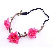 Accessoire mariage , bijou de cheveux , fleurs roses et feuilles tressées bohème
