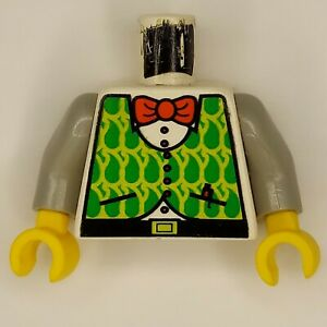 Lego Adventurers Minifigure Torso Plad Green Red Bow Tie