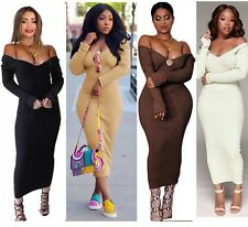 Women Bardot Off Shoulder Ribbed Long Sleeve Bodycon Stretchy Knitted Dress Long