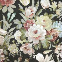 3 x Single Paper Napkins For Decoupage Craft Kate Vintage Flowers on Black M377