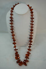 VINTAGE AMBER NECKLACE CHUNKY HONEY COGNAC 30in LONG 70 GRAMS BEAD SPACERS