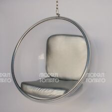 mid century modern hanging globe egg bubble chair by moderntomato - silver