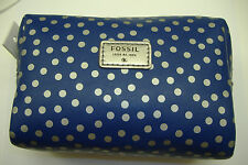 Fossil cute polka dot mimi blue squared leather cosmetic pouch wallet NWT