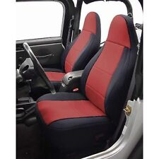 1997 2002 Jeep Wrangler Neoprene Front U0026 Rear Seat Covers Black Wiw Red  Centers