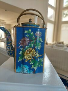 Chinese Vintage/antique Cloisonne Teapot Signed Chrysanthemum Painting