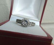 Attractive 9ct White Gold + Diamond Fashion Ring c.1990s  -  size L