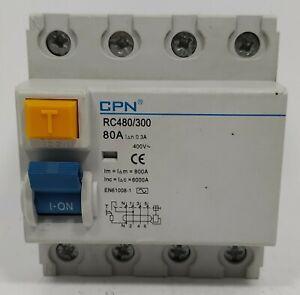 CPN 80 Amp 80a 30mA RCD Four Pole 4P RCCB RC480/300