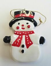 Snowman Christmas Tree Ornament Vintage Glazed Ceramic Red Scarf & Top Hat