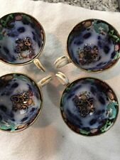 Flow blue Poly Chrome Tea Cups Old