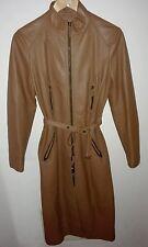Giacca vera pelle lunga donna L marrone chiodo giaccone nappa