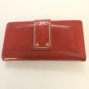 Kate Spade New York Coral Patent Leather Bifold Long Credit Cards Wallet Orange