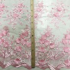 Bordado Rosa Boda Tela Encaje 124cm Ancho 3d Floral De Boda Tela Encaje 0.5m