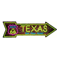 "Outdoor/Indoor Neon Route 66 Texas Novelty Metal Arrow Sign 5"" x 17"""