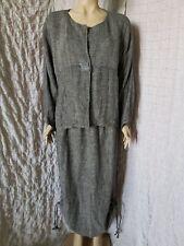 GRIZAS art to wear woven 100% linen grey melange jacket and skirt suit size 2XL