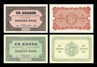 Noruega  2x 1, 2 Kroner - Edición Skillemyntsedler 1917 - 1922   Reproducción 08