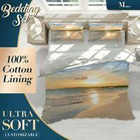 Golden Sunset Sky Beach Orange Duvet Cover Set Single Double Queen King Size
