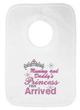 Mummy and Daddy's Princess has Arrived Embroidered Bib by Daisy Chain Embroidery