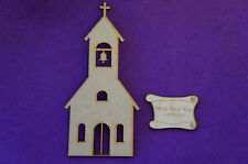 1 x Church 15cm/150mm - Craft Embellishment MDF Laser cut wooden shape