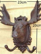 Cast Iron Deer Head Rustic Hook Hanger