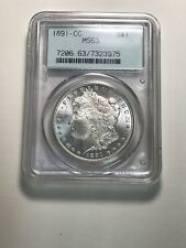 1891-CC Morgan Silver Dollar $1 PCGS MS 63 RARE KEY DATE OLD GREEN HOLDER
