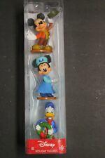 Walt Disney 3 Piece Christmas Figure Set Mickey Mouse Minnie Mouse Donald Duck -