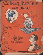 HEART THAT'S TRUE AND BRAVE sheet music FOX-TROT Cal Southern LOS ANGELES 1923