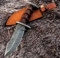 "11"" INCH CUSTOM HAND MADE DAMASCUS STEEL HUNTING BOWIE WALNUT WOOD HANDLE KNIFE"