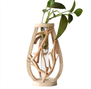 Pure Handwork Wooden Vase Decorated Solid Wood Flower Pot For Creative Glass