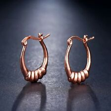 Spectacular oval shell design rose gold plated small hoop earrings