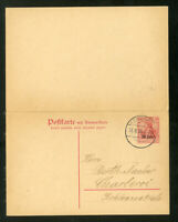 Germany Stamps Pristine used Michel postal card #P-5 XF with reply attached