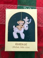 PRECIOUS MOMENTS REINDEER ORNAMENT 1986....Darling!   Must see!