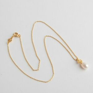 Tory Burch Pearl Charm Necklace. New With Dust Bag. Gold Tone