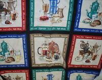 I love Coffee blocks by the panel Elizabeth Studio fabric