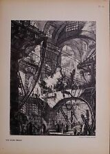 ANTIQUE PIRANESI IMAGINARY PRISONS PRINT Carceri d'Invenzi OVER 100 YEARS OLD