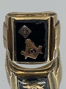 Antique 10k Gold Masonic Ring, Size 8.5