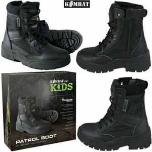 Kids Childrens Combat Patrol Black Leather Hiking Cadet Boots Army Military New
