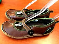 Merrell Brown w/ Green Leather Mary Jane Oxfords Stretch Strap US 8 EUR 38.5