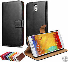 Genuine Real Leather Flip Wallet Case Cover for Samsung Galaxy Note 3