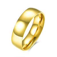18K Gold Plated Solid Titanium Steel 4mm & 6mm Classic Plain Band Wedding Ring