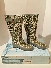 Women's Sperry Top-Sider Pelican Gray Leopard Rain Rubber Boots Size 5 M