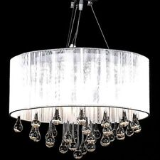White Drum Pendant Light Shade Crystal Ceiling Lamp Chandelier Fixture Lighting