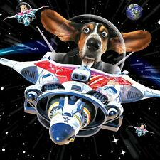 "Tarjeta Cumpleaños ""Feliz Cumpleaños"" Perro Hamsters Nave espacial Saltones 3D"