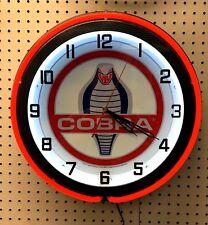 "18"" Red COBRA Snake Double Neon Carbon Fiber Like Clock Shelby Mustang"