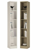 Crescita TALL Narrow Bookcase in Oak or White Living Display Cabinet Bedroom BIG