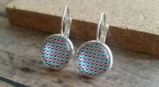 Glass dome Earrings, silver tone, Leverback, Art, abstract geometric blue print