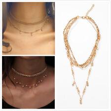 aab9136b5bbf Moda Mujer Chapado en Oro Estrella multicapa de Cristal Cuentas Gargantilla  Collar Colgante